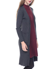 Fashion Lab - Open Front Pockets Longline Cardi