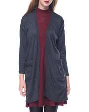 Fashion Lab - Heathered Open Front Pockets Cardi