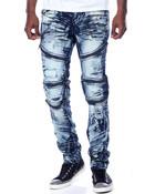 Zipper Washed Biker Denim Jeans