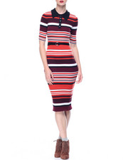 Dresses - Button Collar Midi Sweater Dress in Variegated Stripe Rib
