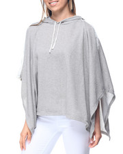 Fashion Lab - Heathered Crochet Trim Hooded Poncho Sweater