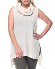 Tops - Sleeveless Cowl Shaker Tunic w/ Side Slits (plus)