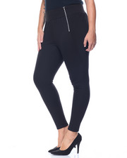 Fashion Lab - Wide Waistband Leggings w/ Side Panels and Exposed Zippers Detail Front (plus)