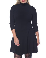 Fashion Lab - Rib Mock Neck Fit & Flare Sweater Dress (plus)