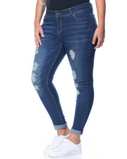 Bottoms - Heavy Rips & Tears Boyfriend Roll Cuff Jean