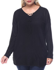 Fashion Lab - Links Stitch Laceup Tunic w/ Shirt-Tail Hem (plus)