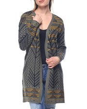 Fashion Lab - Drop Shoulder Jacquard Cardigan