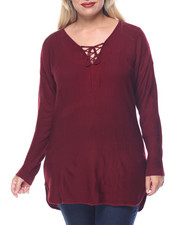 Tops - Links Stitch Laceup Tunic w/ Shirt-Tail Hem (plus)