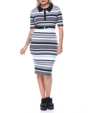 Fashion Lab - Button Collar Midi Stripe Rib Dress (plus)