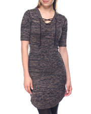 Dresses - Elbow Sleeve Shirttail Hem Sweater Dress w/ Lace Up Neck