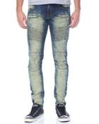 Wheat Wash Moto - Style Denim Jeans