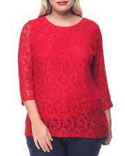 Tops - Lace 3/4 Sleeve Top (Plus)