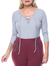Women - Lace Up V Neck Bodysuit (plus)