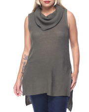 Women - Sleeveless Cowl Shaker Tunic w/ Side Slits (plus)