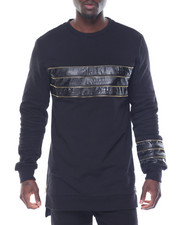 Sweatshirts & Sweaters - Faux Leather / Zipper - Trim Crewneck Sweatshirt