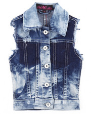 Girls - CRINKLE WASH DENIM VEST (4-6X)