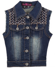 Girls - FRAYED DENIM VEST W/ EMBROIDERY (4-6X)