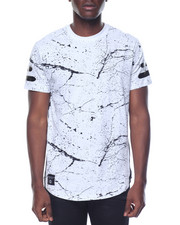 Men - Scalloped Hem Marble Tee