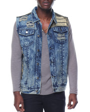 Basic Essentials - Camo - Trim Acid - Washed Denim Vest