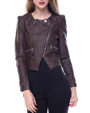 Fashion Lab - Zip Trim Pintuck Vegan Leather Moto Jacket
