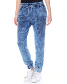 Smocked Waist Quilted Pockets Stretch Acid Wash Jogger
