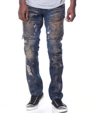 Jeans & Pants - Dusty Wash Moto Denim Jeans