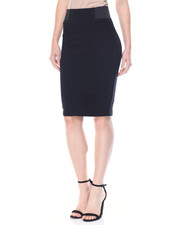 Fashion Lab - Premium Ponte Pintuck Sides Control Waistband Pencil Skirt