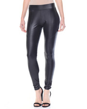 Bottoms - Coated Pieced Vegan Leather Legging
