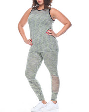 Women - Fire Printed Tank W/Ankle length Legging Set (plus)