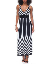 Print Dress - Stripe Print Sequin Beaded Empire Waist Maxi
