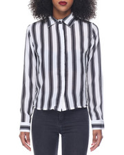Polos & Button-Downs - Stripe Hi Low Hem Shirt