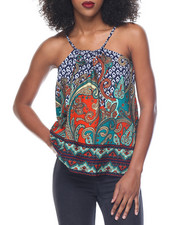 Fashion Tops - Paisley Border Print Top