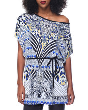 Fashion Lab - Mosaic Print Kimono Self Tie Top