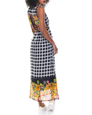 Print Dress - Dot/Floral Cage Back Chiffon Maxi