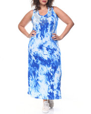 Fashion Lab - Tie Dye Print Embellished Neckline Maxi (Plus)