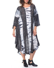 Women - Tie Dye/ Floral Print  Flutter Sleeve Caftan Dress  (Plus)