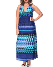 Fashion Lab - Chevron Print Crochet Back Maxi (Plus)