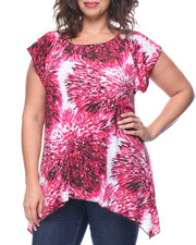 Tops - Starburst Sparkle Print Hanky Hem Top (Plus)