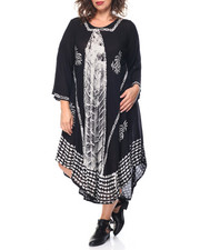 Fashion Lab - Batik Print Flutter Sleeve Caftan Dress (Plus)