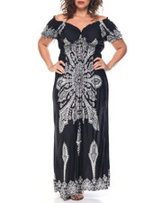 Fashion Lab - Placement Print Smocked Empire Waist Maxi (Plus)