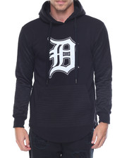 Hoodies - Detroit Patched Side - Zip Biker Fleece Pullover Hoodie