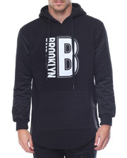 Hoodies - Brooklyn Patched Side - Zip Biker Fleece Pullover Hoodie