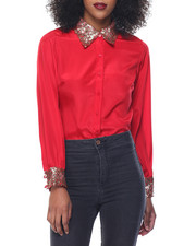 Polos & Button-Downs - Sequin Collar Chiffon Blouse