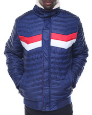 Light Jackets - Shiny Jersey - Lined Nylon Bubble Jacket W/ Baby Sherpa Collar
