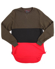 Arcade Styles - FRENCH TERRY COLOR BLOCK PULLOVER W/ ZIPPERS (8-20)