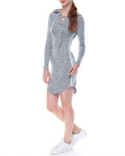 Women - Cat Hoodie Jersey Dress W/lace Up Stripes