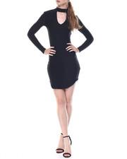Women - Runway Mock Neck Dress W/Keyhole Front