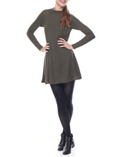Women - Twiggy Mock Neck Raglan Sleeve Flare Dress