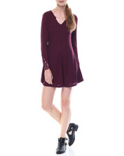 Women - Fit And Flare Dress W/Split Neck Crochet Detail