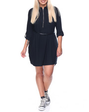 Fashion Lab - Yummy Zip Up 3/4 Sleeve Shirt Dress w/Belt (plus)